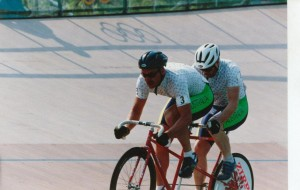 Pilot Steve Gray and Stoker Greg Madson on the velodrome at Stone Mountain - 1996 Atlanta Paralympics