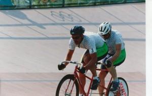 Pilot Steve Gray and Stoker Greg Madson on the velodrome at Stone Mountain - 1996 Atlanta Paralympics