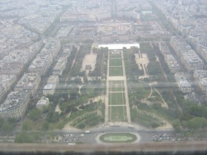 Photo from the top of the Eiffel Tower looking out to Le Champ-de-Mars