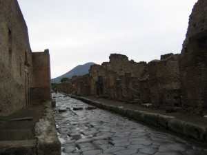 Photo of Cobblestone street in Pompeii
