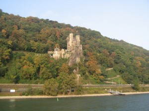 View from our boat of a Castle on the banks of the Rhine River