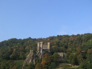View of a Castlebuilt on rock from our Boat on the Rhine River