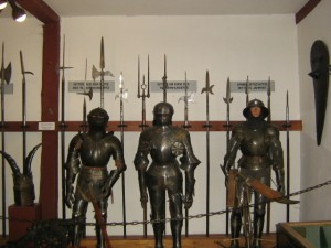 View of display of 3 Suits of Armour Marksburg Castle in Braubach Germany