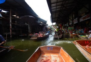 Photo view from our boat floating through the markets