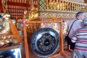 Photo of an ornate Gong at WAT SUAN DOK Buddist temple Chiang Mai