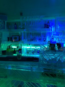 The image shows a Bar created completely of ice at the Minus 5 Ice Bar in Queenstown