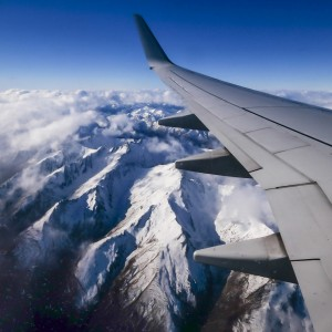 Photo of mountain ranges as seen from Qantas flight to Queenstown