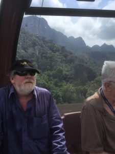 Greg and Bill in the Langkawi SkyCab (Cable Car) to the peak of Gunung Machinchang, Malaysia