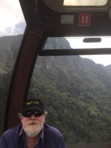 Greg in the Langkawi SkyCab (Cable Car) to Gunung Machinchang, Malaysia