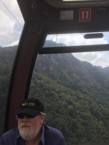 Greg in the Langkawi SkyCab (Cable Car) to the peak of Gunung Machinchang, Malaysia
