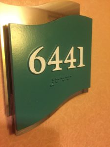 Cabin number in Braille