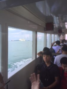 View from tender boat at Patong, Thailand with Voyager of the Seas in the background