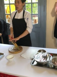 Photo of the Cooking school teacher demonstrating at Koto Cooking School Hanoi